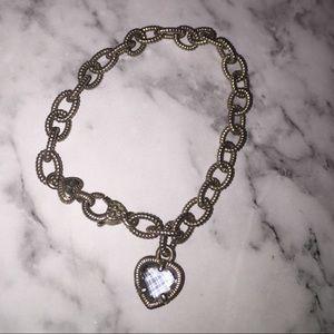 Judith Ripka silver bracelet w/Purple crystal. EUC